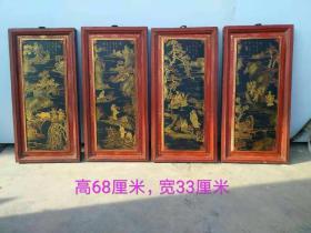 楠木漆器挂件,手绘描金画,渔瞧耕读图,完整包老,单扇高68cm,宽33cm