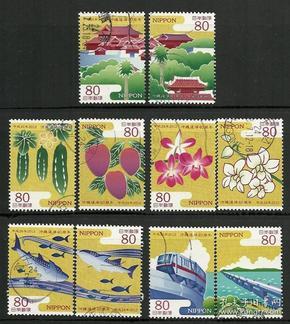 日邮·日本邮票信销·樱花目录编号 C2114 2012年 冲绳回归40周年 全套10枚