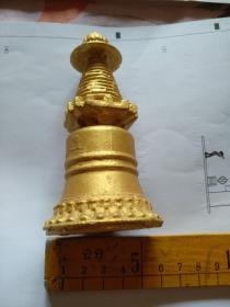北京西山寺院方丈旧藏,瓷鎏金宝塔。保真。