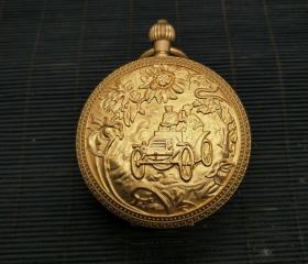 收来的老式怀表 带链子 鎏金机械怀表