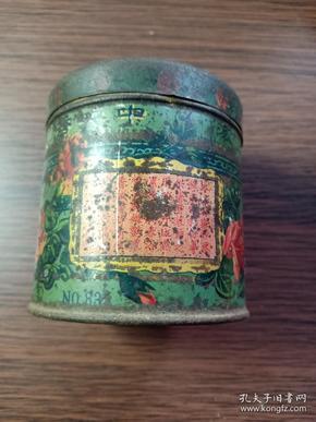 (箱11)晚清  上海中央香皂厂 钞票牌粉扑 铁广告盒 ,尺寸7*6.5cm