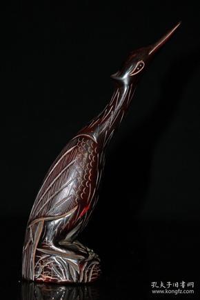 旧藏 天然牛角雕刻招财仙鹤镇宅辟邪摆件高20厘米长5.5厘米宽4厘米,重190克