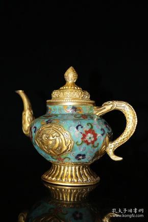 旧藏 景泰蓝手工掐丝珐琅彩龙把藏壶摆件高21厘米长17厘米宽12厘米,重1060克