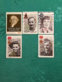 澳大利亚邮票:人头像邮票(二)信销票6枚无重复