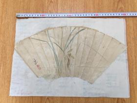 清代日本手绘《兰花图》扇面一幅,有落款印章但辨认不出