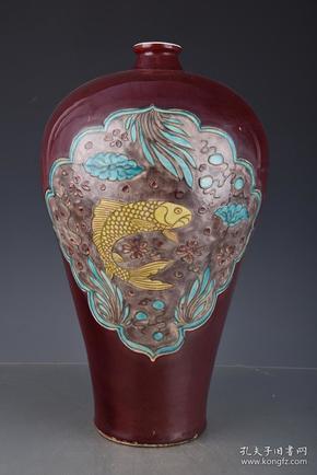 元济红加彩鱼藻纹梅瓶