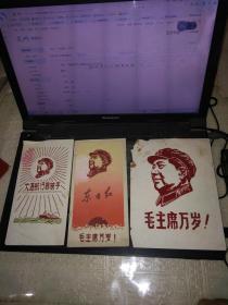 文革植绒画:毛主席题材9张(最小的尺寸16*10CM,最大的尺寸31*10CM)