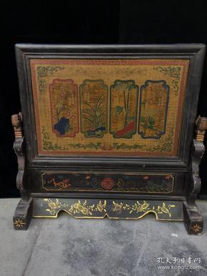木胎漆器插屏,细节如图