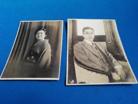 昭和时代初期日本男女和服照片2张