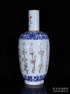清雍正粉彩花卉纹棒槌瓶31.5×13