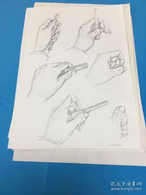 9张左手素描(A4纸)
