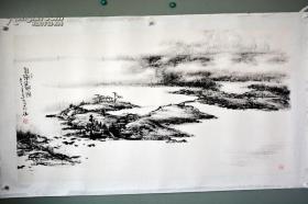 六尺整紙大幅山水 中國美協會員楊占山畫 許少翁題
