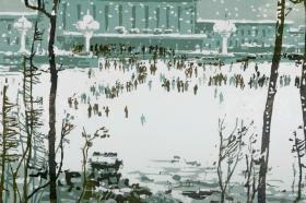 著名版画家 田心 签名版画《大连车站》一幅(油印套色;组版画中国百景之东北十景,限定200部之59番)HXTX101384