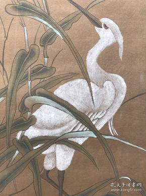 五代时西蜀画院的宫廷画家黄筌手绘纸本立轴,画工精细,原装原裱
