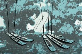 著名版画家、中国美协版画艺术委员会委员 莫测 1980年 签名版画《春雨》一幅(油印套色;组版画中国百景之桂林十景,限定34/200番)HXTX103637