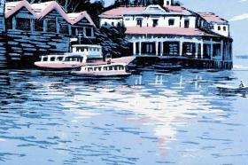 著名版画家 田心 签名版画《松花江畔》一幅(油印套色;组版画中国百景之东北十景,限定200部之59番)HXTX101380