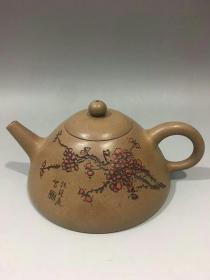 裴石民款梅花纹石瓢7x15