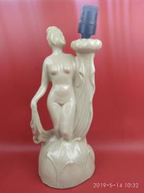 荷花仙子瓷摆件, 人物塑像台灯摆件