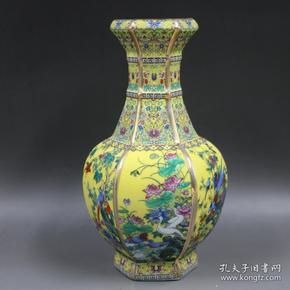 黄地描金珐琅彩六方花鸟赏瓶