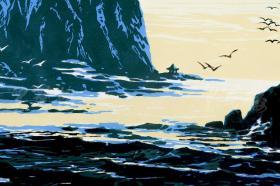 著名版画家 田心 签名版画《大连工人疗养院》一幅(油印套色;组版画中国百景之东北十景,限定200部之59番)HXTX101383