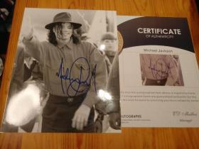 【签名照】迈克尔·杰克逊 亲笔签名照  非常珍贵 附保真证书