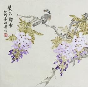 【保真】。【许鲁】山东省美协会员、中国书画艺术研究会会员、手绘小斗方作品(43*43CM)。(紫玉飘香)