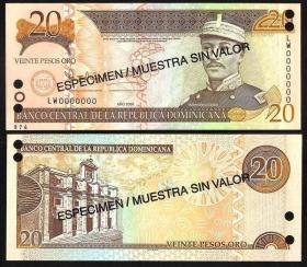 多米尼加共和国20比索票样(2004年版)