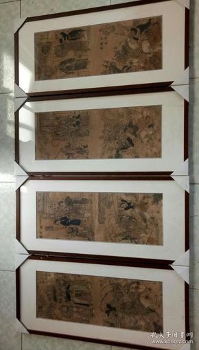 木板年画    穆桂英    四条屏