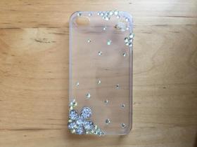 iPhone 4 手机壳 塑料材质透明 (水钻)