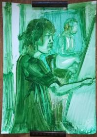 手绘软纸板水粉画:无款20190410-09(大幅)