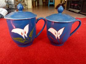 怀旧收藏 八十年代陶瓷水杯 马蹄莲图案 两只一大一小