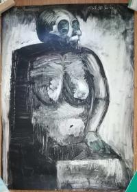 手绘软纸板水粉画:无款20190410-12(大幅)