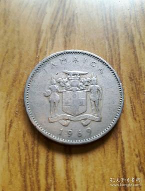 牙买加土著人徽章币10分(1969年)银白美品——老外币收藏