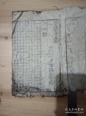 明版宣城梅膺祚《字汇》子集一厚册,极初印本。大开本。