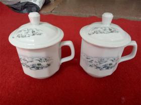 怀旧收藏 八十年代陶瓷水杯 南岭积雪图案 高12cm杯口直径8cm