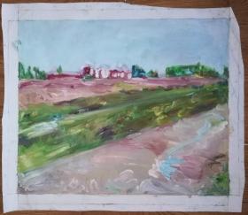 手绘布面油画:段茜珊(风景2 60x50)