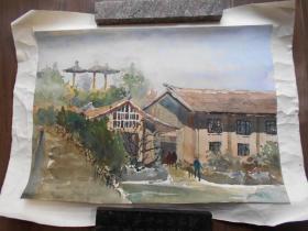 80年代【建筑水彩画,2幅】