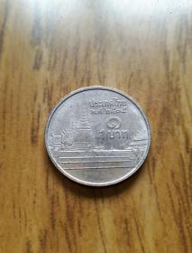 泰国佛塔币1泰铢 背图年青泰王像