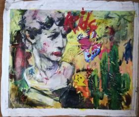 手绘布面油画:李玲(涂鸦 98x80)