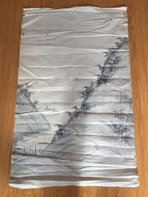 清后期日本手绘《山水图》一幅,无落款印章