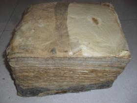 清末民国老蜡纸一坨约十公斤,约几千张,28*28*18厘米,为剪拓样板或古器拓片支用,蜡纸粘连,电解加热可揭开,