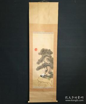 8173:日本回流 :松鹤图挂轴(回流字画.回流老画.回流真迹)