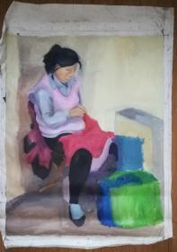 手绘布面油画:无款20190522-11(慈母 100x80)
