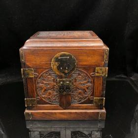 雕龙纹木小官箱