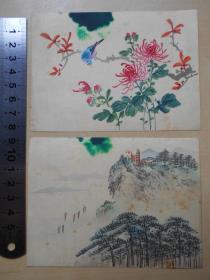 60年代【手绘,山水花鸟,绢画小品2幅】画面上端有污渍