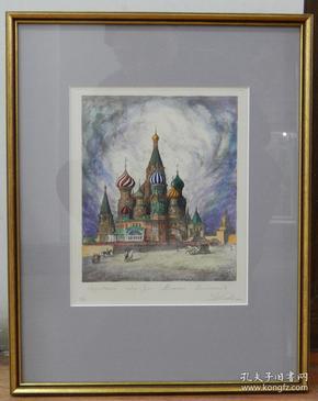 德國銅版畫《教堂風景》手工著色,原裝德國老鏡框(已售)