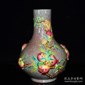 清乾隆年鲁钧釉雕花九桃纹福寿瓶