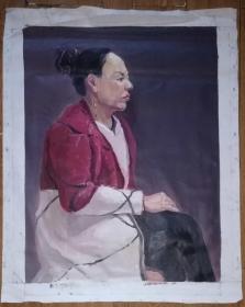 手绘布面油画:无款20190522-13(人物 80x60)