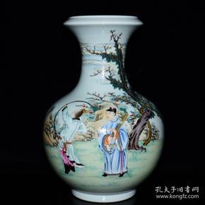 清雍正年粉彩扶琴狩雁图纹盘口瓶