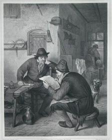 1869年维也纳画廊钢板画系列—《读报》